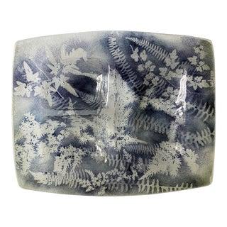 Large Edwin Walter Kiln Glass 3-Part Fern Serving Dish For Sale