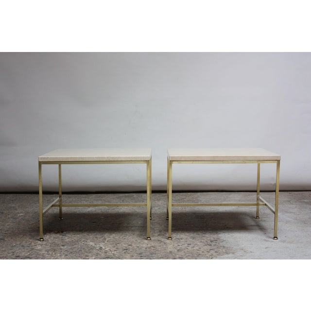 Directional Paul McCobb Travertine and Brass Occasional Tables For Sale - Image 4 of 13
