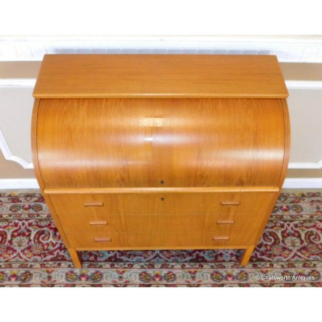 Egon Ostergaard Scandinavian Teak Cylinder Desk For Sale - Image 7 of 9