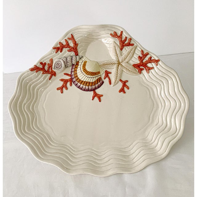 Vintage Fitz & Floyd large ceramic oyster shape with Trompe l'œil Sea Shells, Star fish and corals serving platter charger...