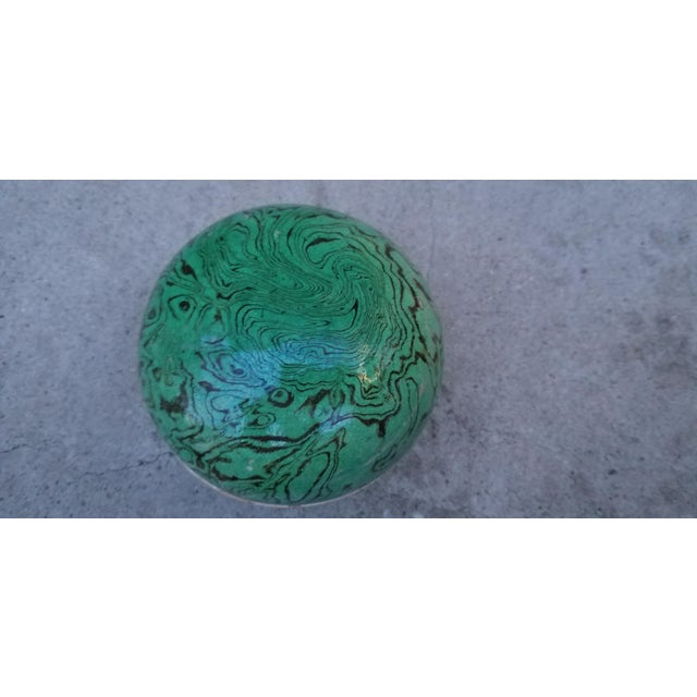 Asian Green Marbled Ceramic Box For Sale - Image 3 of 5