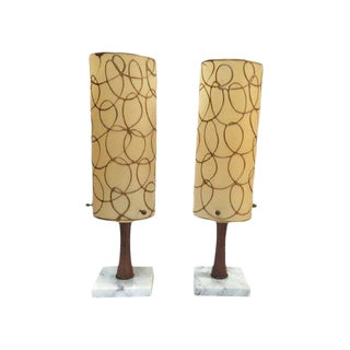 Mid Century Modern Lamps Atomic Era Gold Swirl Console or Bedside Table Lamps All Original - a Pair