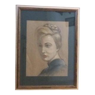 Mid-Century Femme Fatale Pastel Portrait