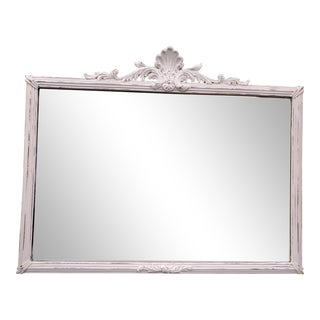 Antique Shabby Chic White Carved Mirror For Sale