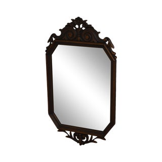 Vintage 1920's Carved Walnut Frame French Style Wall Mirror For Sale