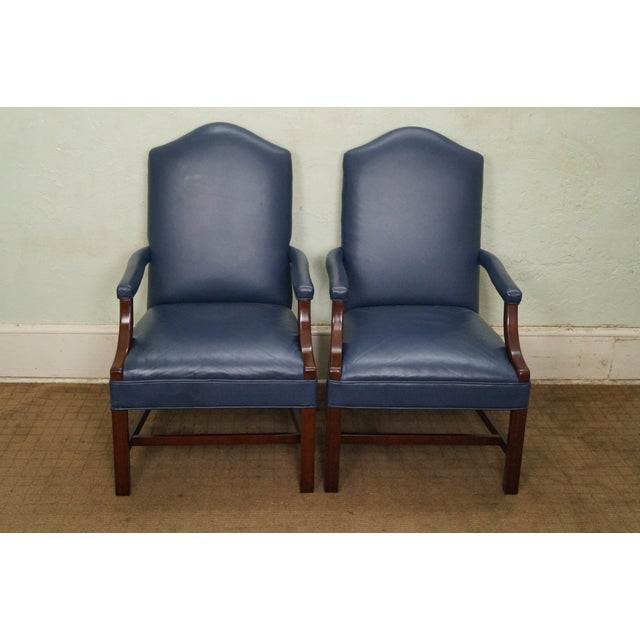 Blue Leather Chippendale Style Arm Chairs A Pair Chairish
