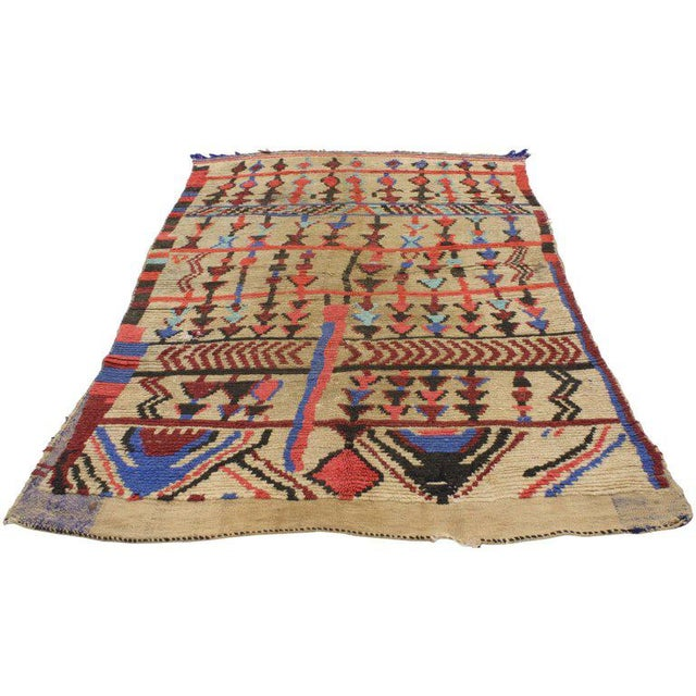 Islamic Vintage Mid-Century Berber Moroccan Rug - 4′7″ × 6′9″ For Sale - Image 3 of 7