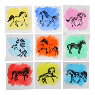 Minimalist Abstract Horses Paintings Set/9 by Cleo Plowden For Sale