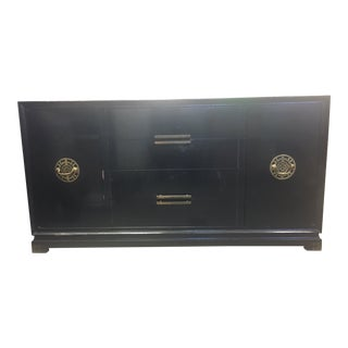 1930's Art Deco Asian Chinoiserie Black Lacquered Sideboard by Red Lion For Sale
