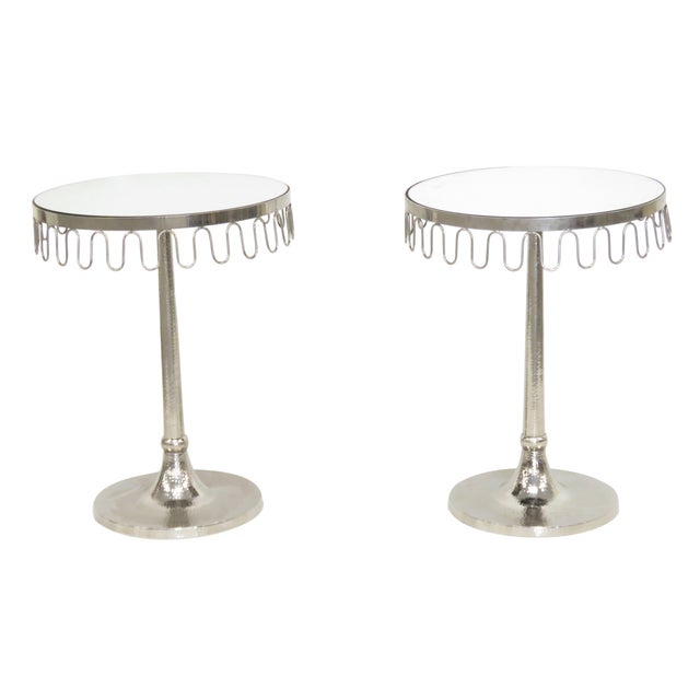 Chrome Art Deco Mirrortop Stands - A Pair - Image 1 of 4
