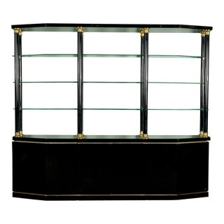 Mid-Century Italian Black Lacquer and Brass Wall Unit
