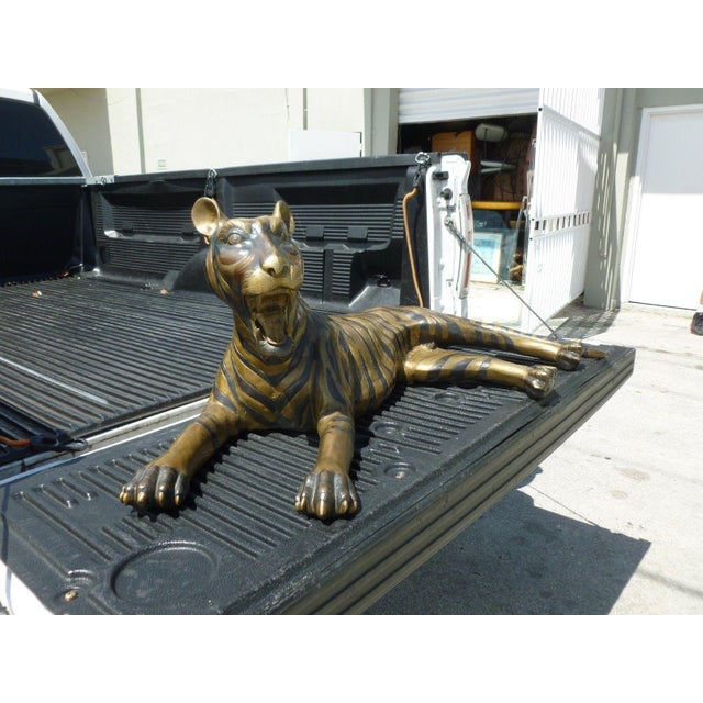 Large 70's Sitting Bronze Tiger, great floor decor sold as found in excellent shape.