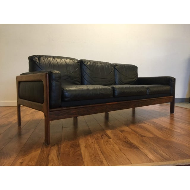 Komfort Mid Century Rosewood & Leather Sofa For Sale - Image 11 of 11