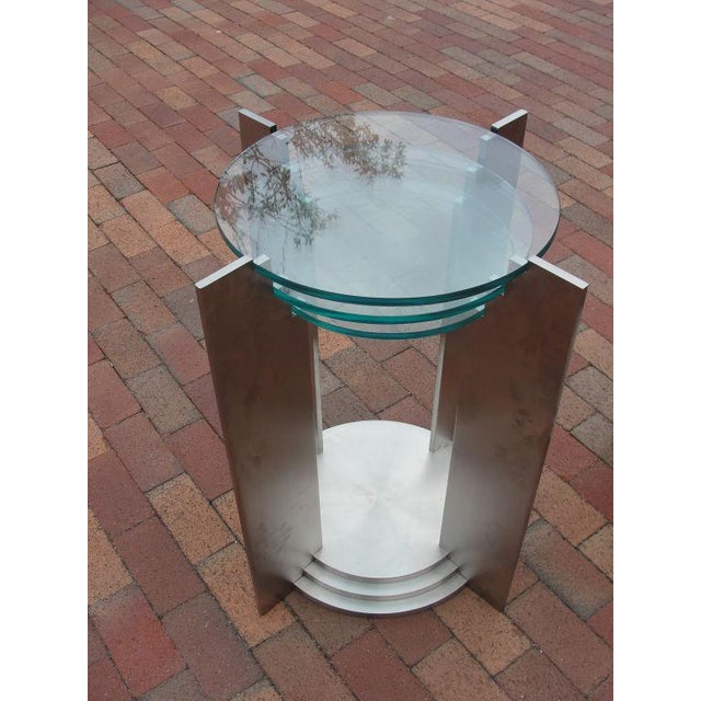 Art Deco Streamline Side Tables in Solid Steel - a Pair For Sale - Image 4 of 5