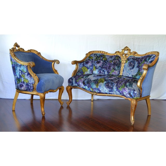 Antique French Gilded Louis XV Upholstered Cabriole Chair - Image 9 of 9