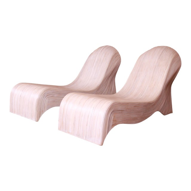 Betty Cobonpue Sculptural Split Reed Rattan Chaise Lounges, Pair For Sale