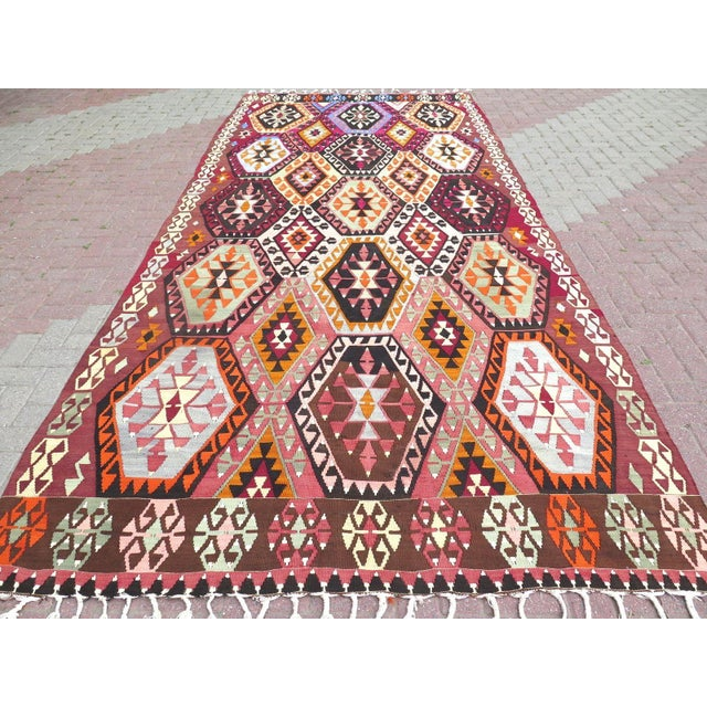 This beautiful, vintage, handwoven kilim is approximately 70 years old. It is handmade of very fine quality hand spun wool...
