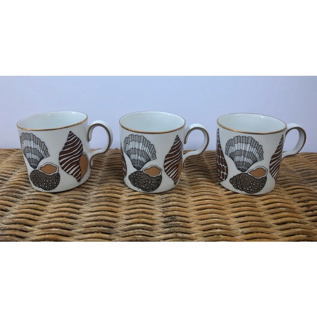 Ceramic Fitz and Floyd for Neiman Marcus Shell Motif Espresso Demitasse Cups - Set of 3 For Sale - Image 7 of 11