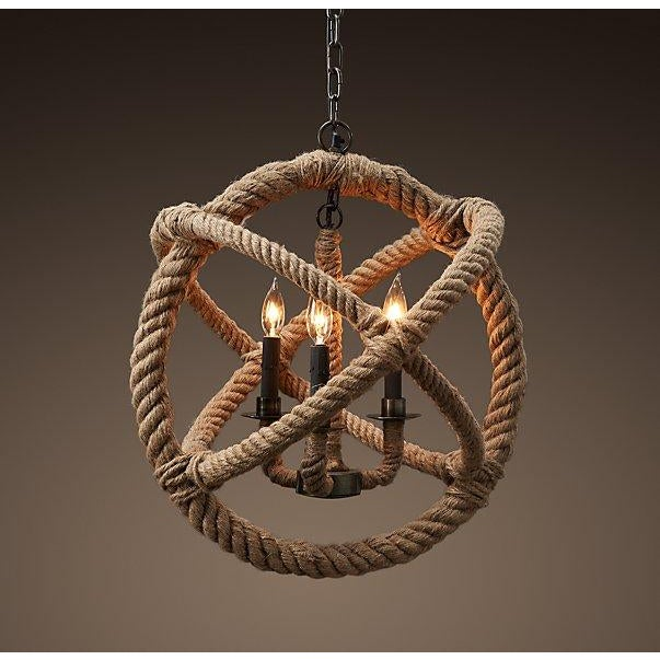 Restoration Hardware Rope Planetarium Chandelier - Image 2 of 9