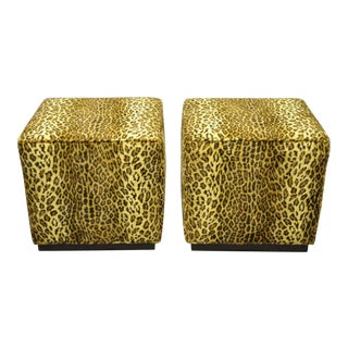 Early 21st Century Barclay Butera Colby Cube Leopard Print Ottomans- A Pair For Sale