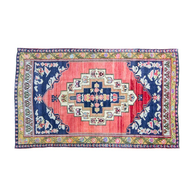 """House of Séance - 1940s Vintage Anatolian Taspinar Oushak Wool Pile Hand-Knotted Rug - 4'10"""" X 8' For Sale"""