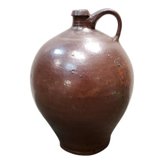 Antique 19th Century New England Redware 2 Gallon Jug For Sale
