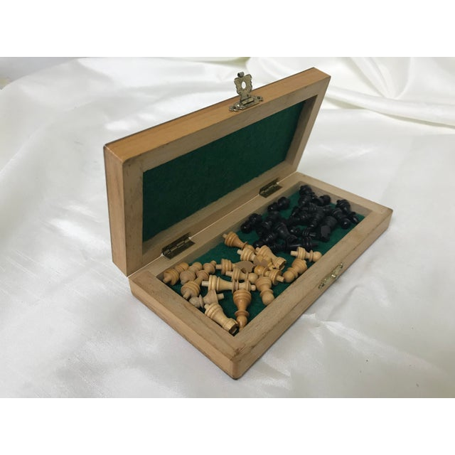 1960s Vintage Wood Miniature Traveling Chess Set For Sale - Image 5 of 9