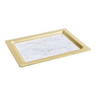 Dual Tray, Carrara Marble & Gold For Sale