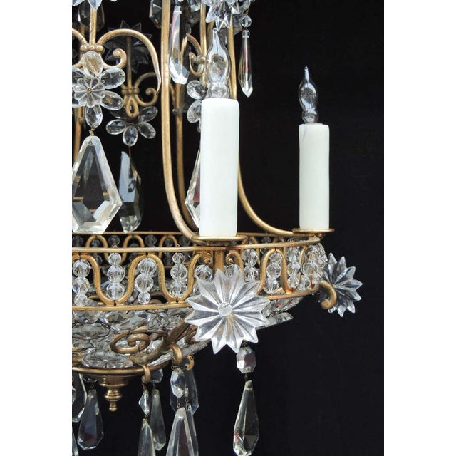 Early 20th C French Bronze Crystal Chandelier, attributed to Maison Baguès For Sale In Charleston - Image 6 of 10