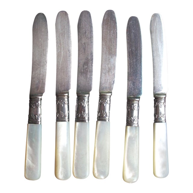 Mother of pearl canape knives set of 6 chairish for Canape knife