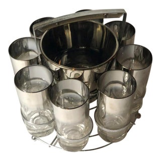 "Dorothy Thorpe ""Mercury Fade"" Ice Bucket & 8 Collins, Mid-Century Modern - Set of 10 For Sale"