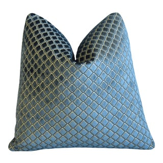 "Exquisite Lee Jofa Blue Diamond Plush Velvet Feather/Down Pillow 21"" Square For Sale"