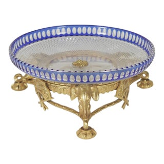 1900 Louis XVI Crystal Bowl on a Gold Gilt Bronze Base