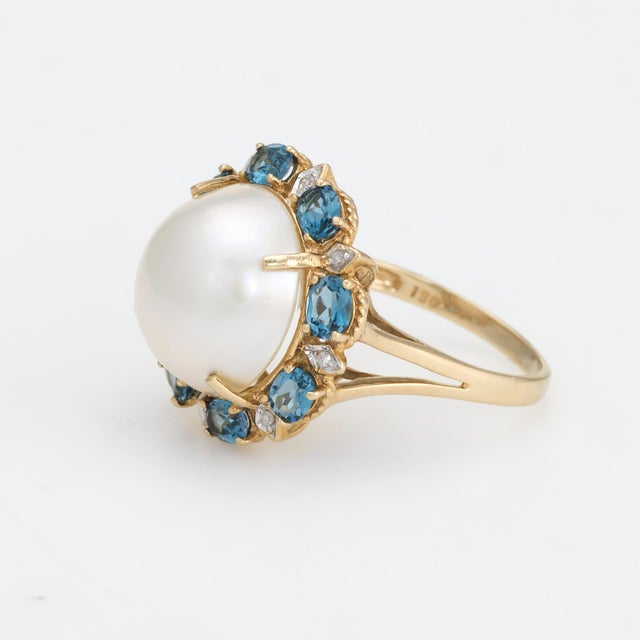 Estate Mabe Pearl Topaz Diamond Ring 14 Karat Gold Round Cocktail Jewelry Fine For Sale - Image 4 of 8