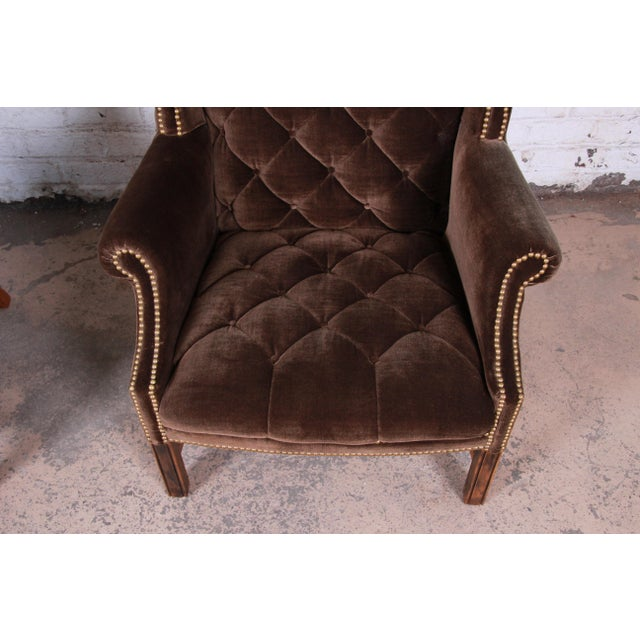 Gold Mid-Century Brown Velvet Porter's Chairs - a Pair For Sale - Image 8 of 12