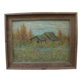 Country House in Rustic Fall Landscape Oil on Canvas Board For Sale