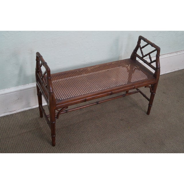 Asian Chinese Chippendale Faux Bamboo Cane Seat Bench For Sale - Image 3 of 9