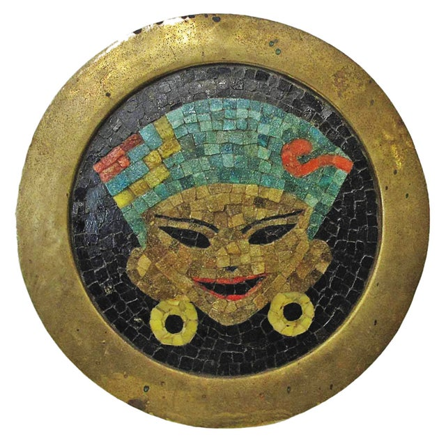 Vintage Brass Tray W/ Mosaic Tile Inlay - Image 1 of 4