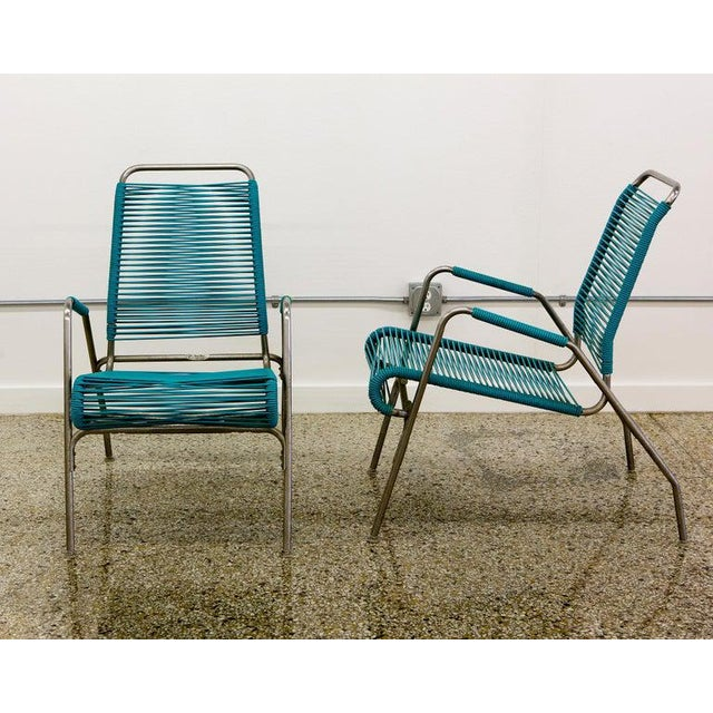 Mid-Century Modern Patio Furniture by Surf Line, 2 Lounge Chairs, 1 Chaise in Stainless and Aqua For Sale - Image 3 of 13