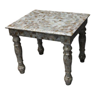 1920s Wood and Mother of Pearl End Table For Sale