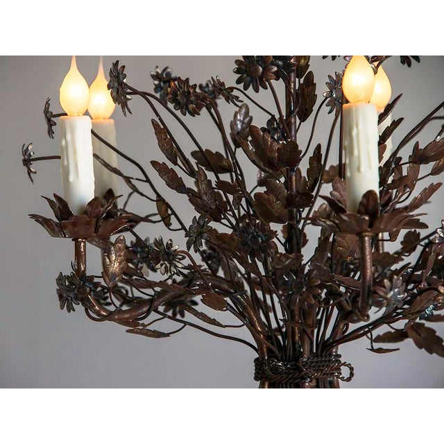 1940s Vintage Steel Floral Bouquet 5 Light Chandelier For Sale In Houston - Image 6 of 9