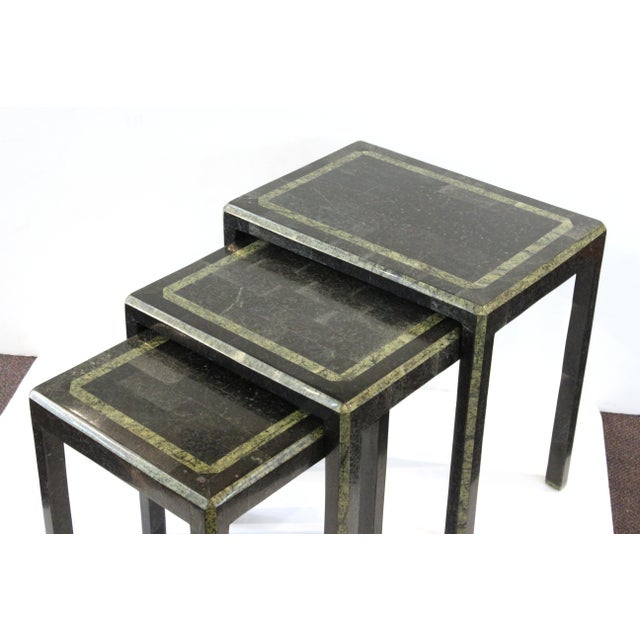 Maitland-Smith Modern Nesting Tables in Tessellated Stone - Set of 3 For Sale In New York - Image 6 of 13