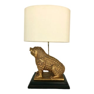 Vintage Pottery Gilt Foo Dog Lamp in the Manner of Tony Duquette For Sale