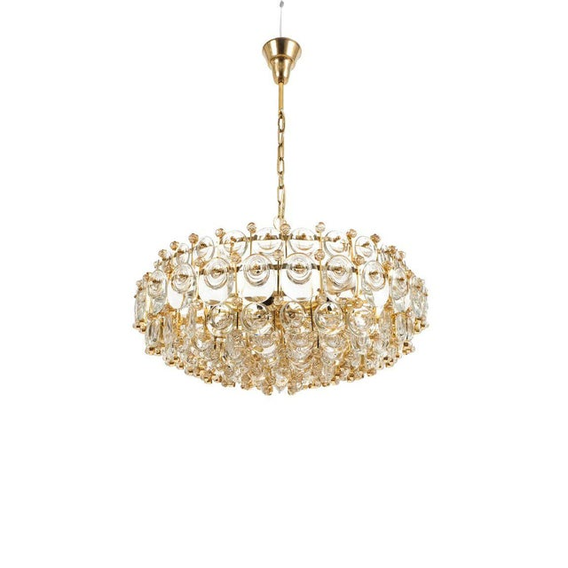 Mid-Century Modern Exceptional Large Gilt Brass and Glass Chandelier Lamp, Palwa circa 1960 For Sale - Image 3 of 11