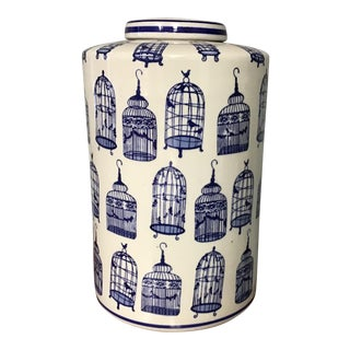 Large Blue and White Vase With Lid For Sale