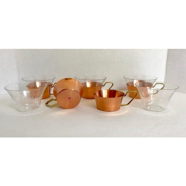 Bauhaus 1950's Vintage Schott Mainz Jenaer German Glass Copper Tea Glasses- Set of 5 For Sale - Image 3 of 5