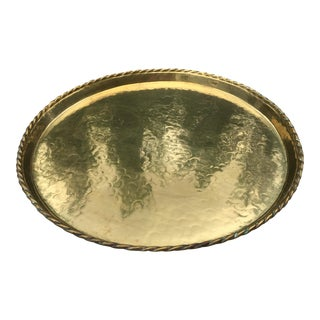 Mid-Century Swedish Hammered Brass Tray For Sale