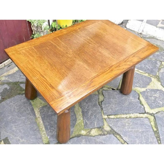 Organic Oak Coffee Table with Massive Legs For Sale - Image 4 of 7