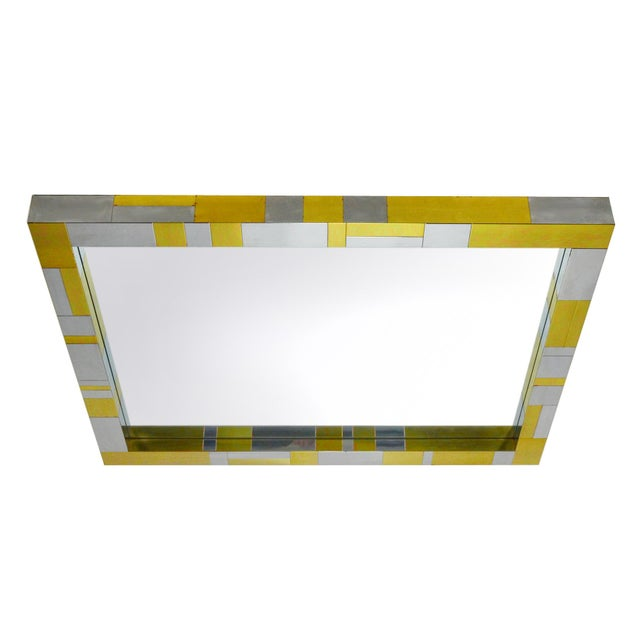 """This wall mirror by Paul Evans is from Paul Evans' """"Cityscape"""" line. The frame is covered in a rich patchwork of brass and..."""