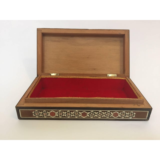 Red Syrian Inlay Jewelry Wooden Box For Sale - Image 8 of 10